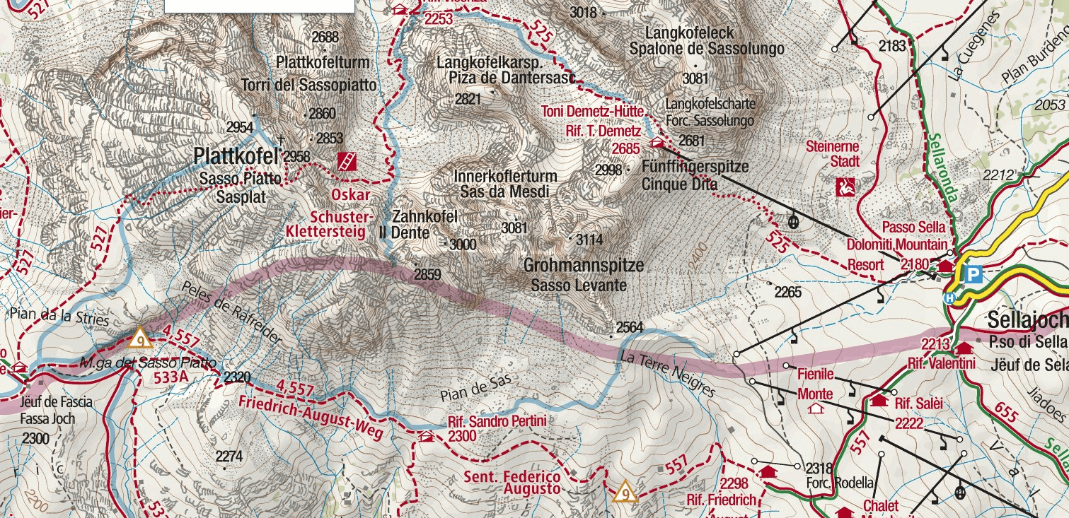 Schuster Sassopiatto Ferrata Map