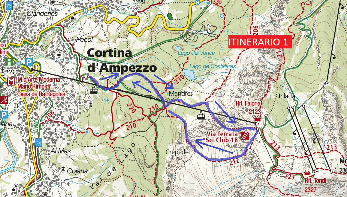 Ferrata Ski Club Map 18 Return Journey 1