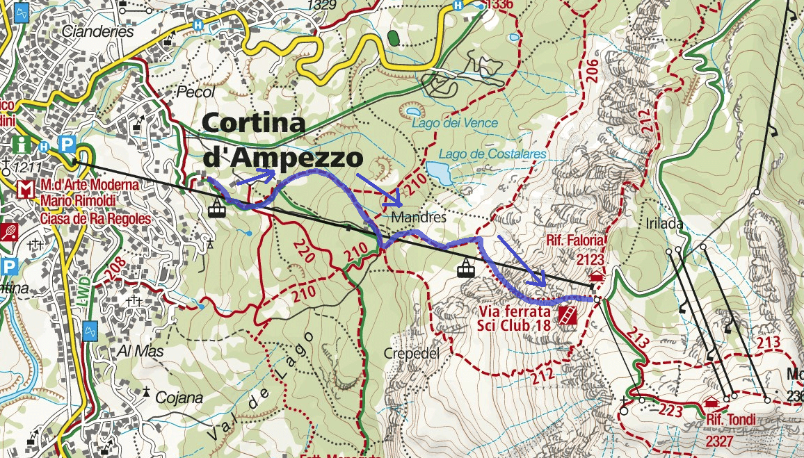 Ski Club Ferrata Map 18 Ascent Itinerary