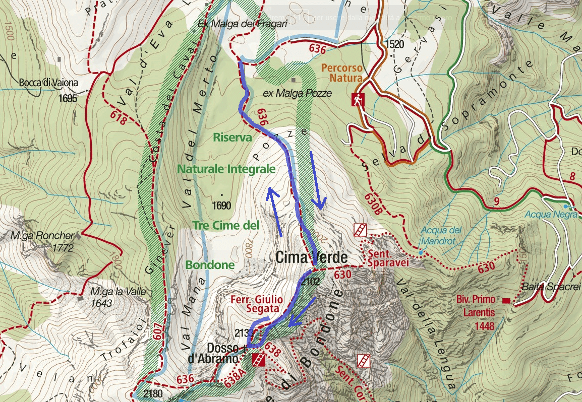 Ferrata Map Sawn Detail Itinerary