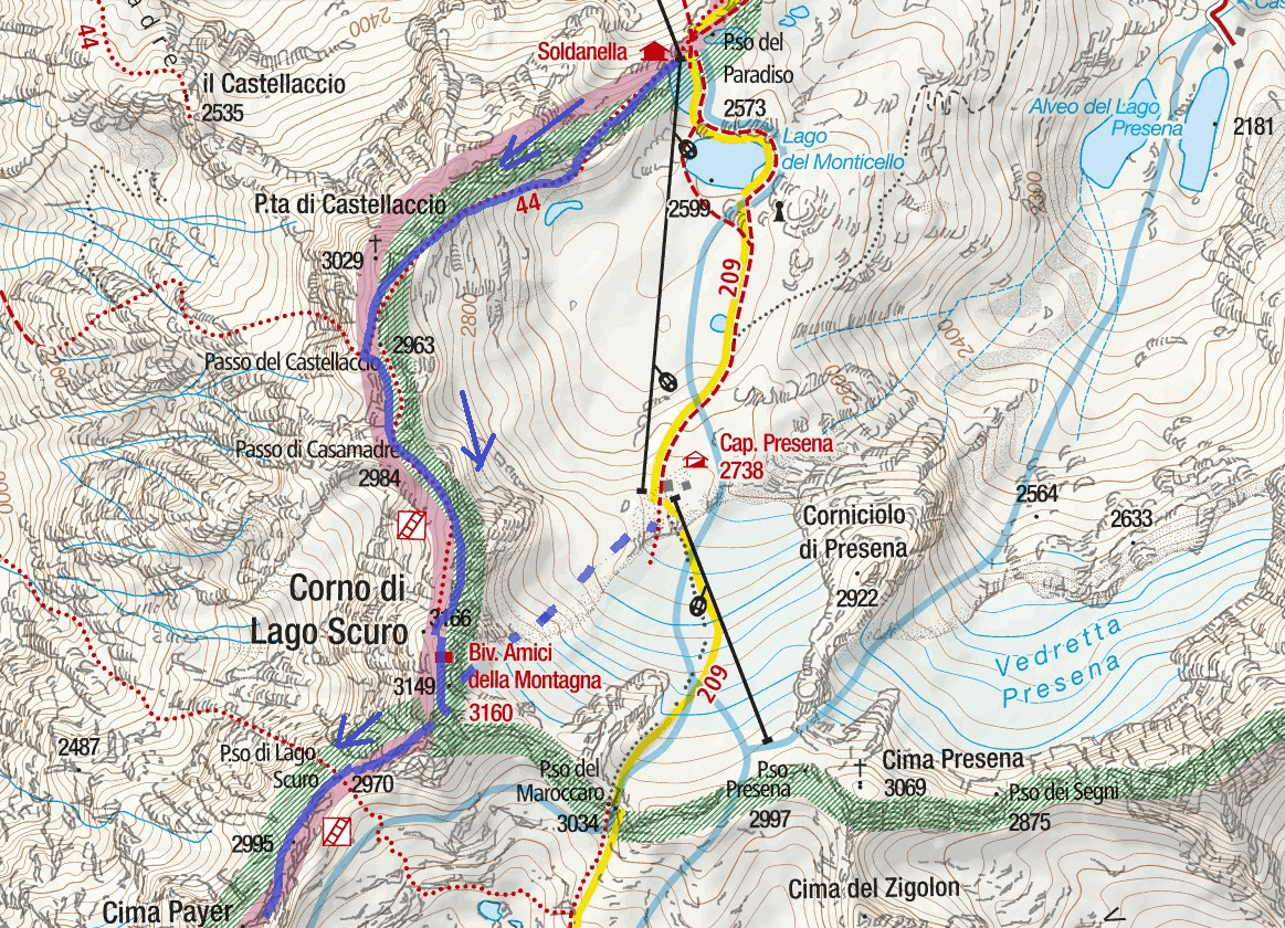 Ferrata Map Flower Trail Itinerary Detail 1