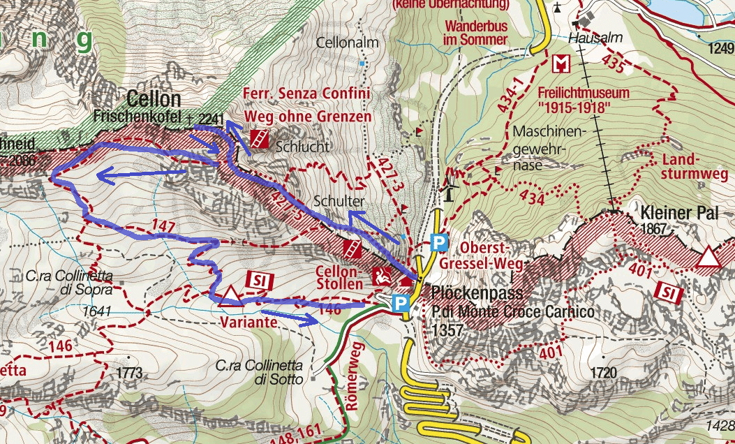 Ferrata Map Without Borders Itinerary