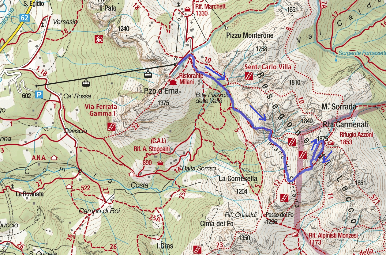 Silvano de Franco Route Ferrata Map