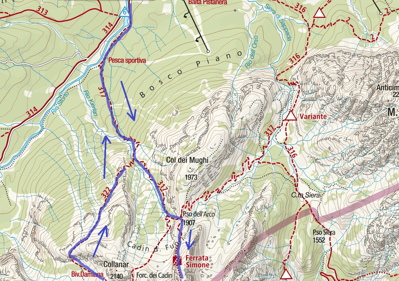 Simone Ferrata Map Detail 1 Itinerary