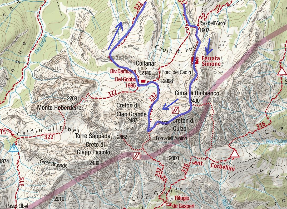 Simone Ferrata Map Detail 2 Itinerary