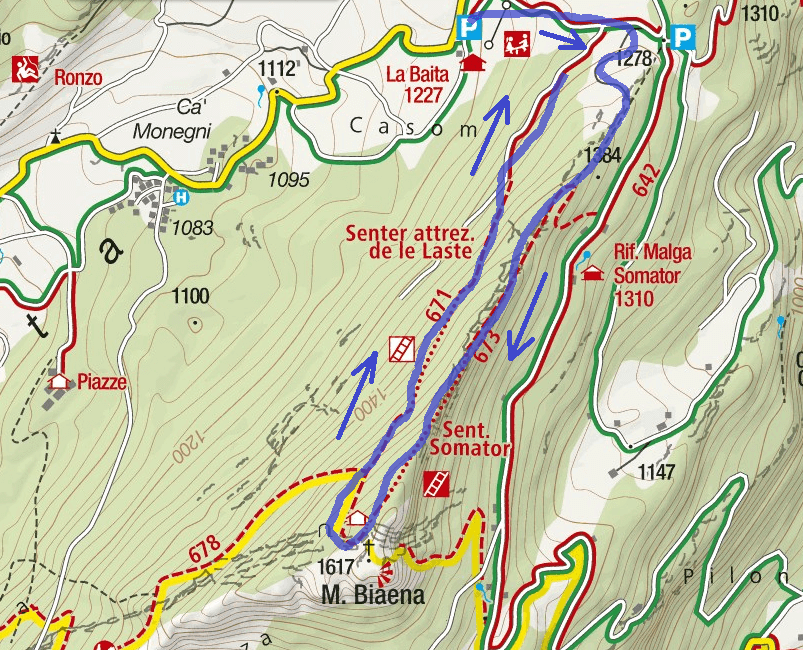 Somata Biaena Route Ferrata Map
