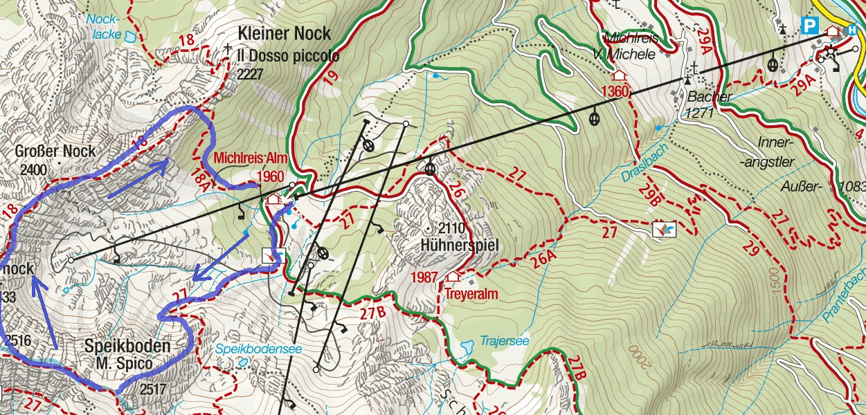 Speikeboden Ferrata Map Itinerary