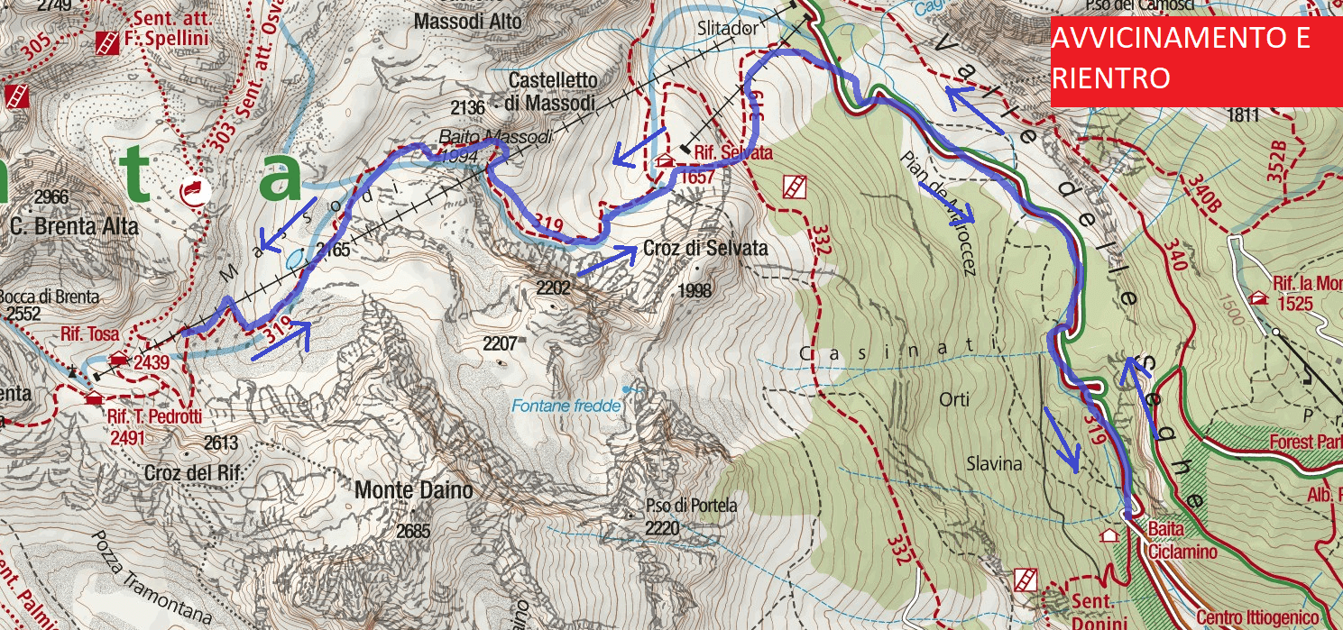 Spellini Ferrata Map Approaching and Returning