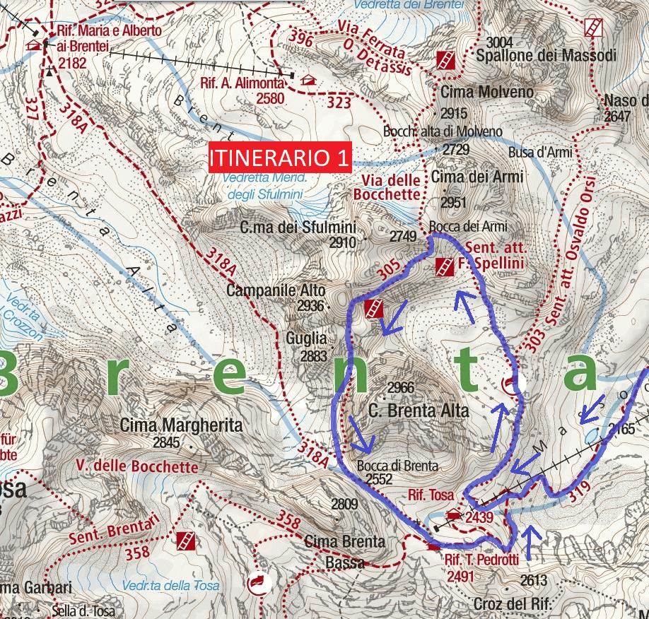 Spellini Ferrata Map Itinerary 1