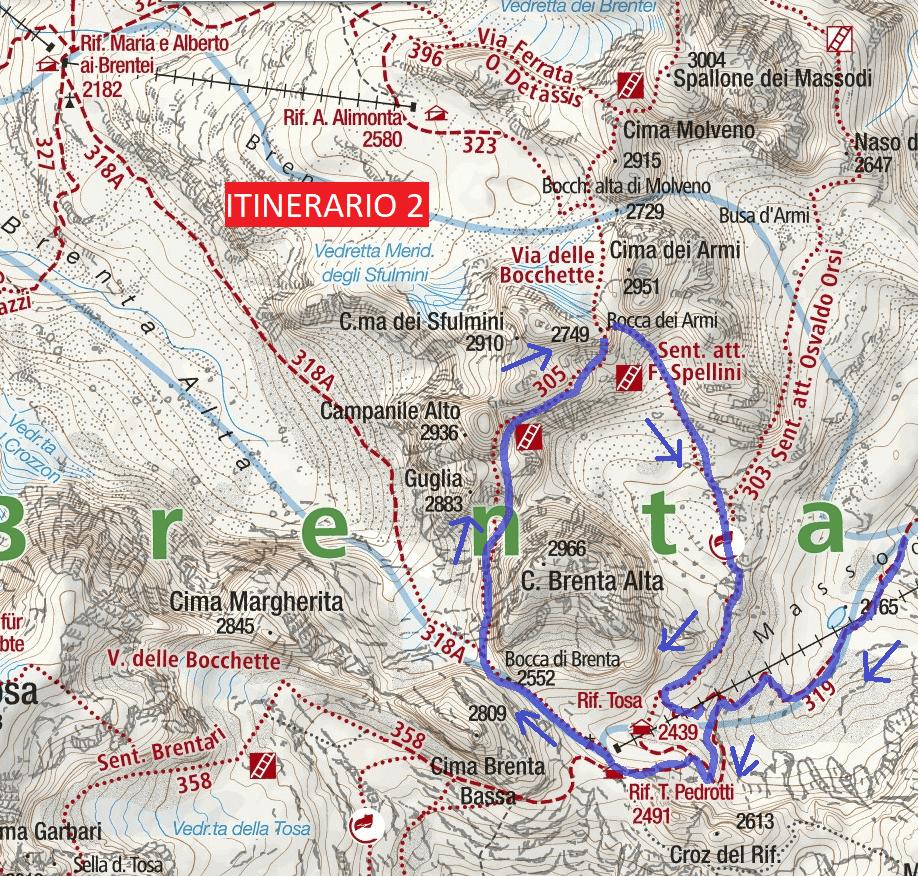 Map Ferrata Spellini Route 2