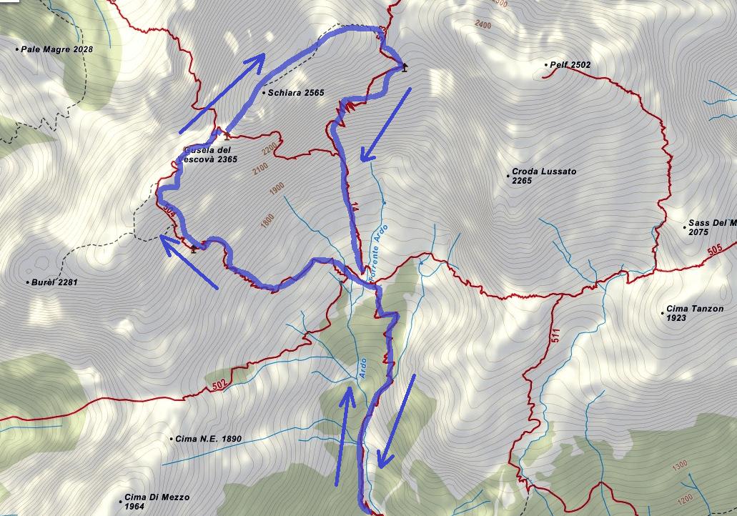 Cartina Ferrata Sperti Itinerario Dettaglio