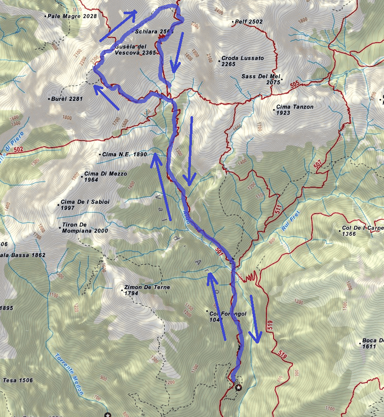 Sperti Ferrata Map Itinerary