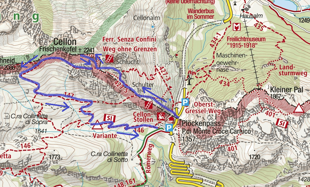 Steinbergerweg Ferrata Map Itinerary