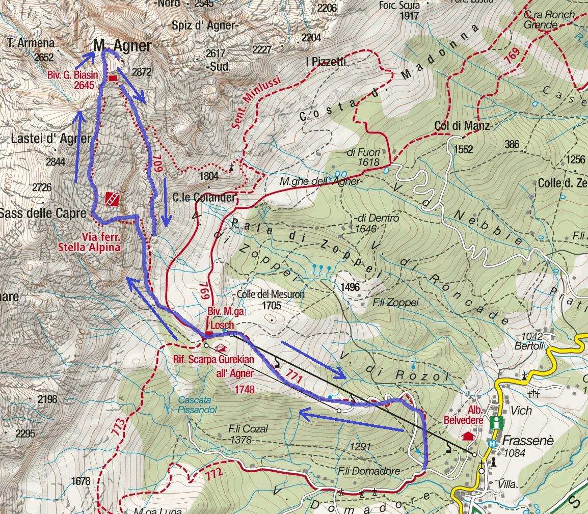 Cartina Ferrata Stella Alpina Agner Itinerario