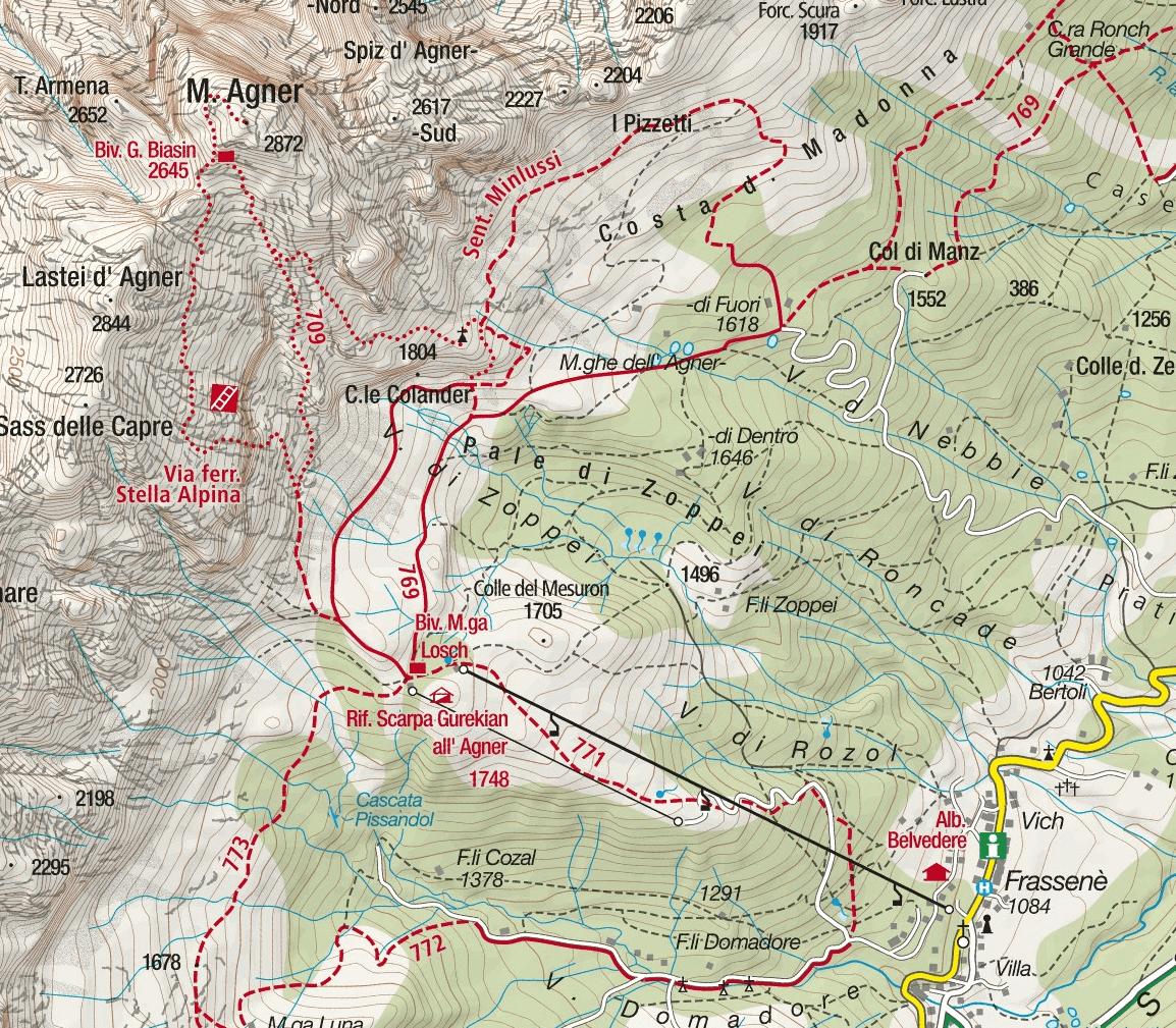 Cartina Ferrata Stella Alpina Agner