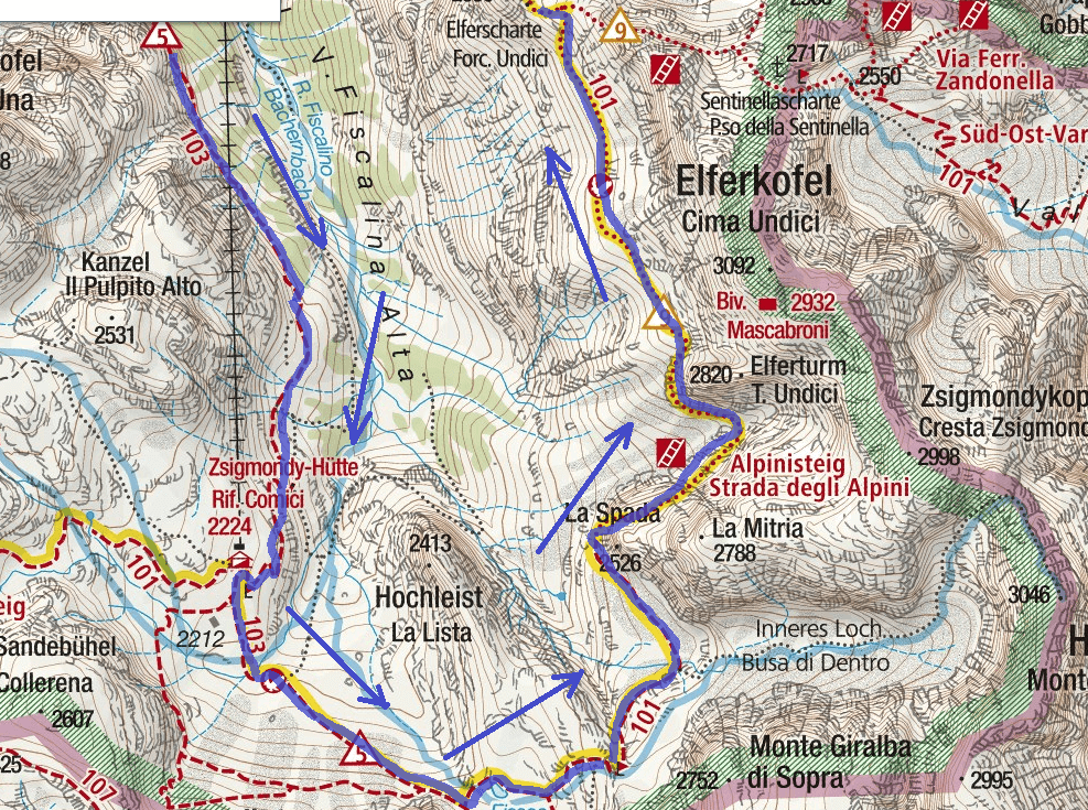 Ferrata Route Alpine Road Itinerary Detail 2