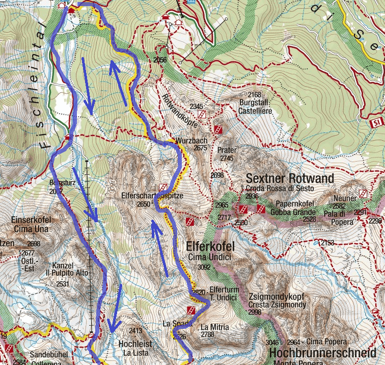 Strada Alpini Route Ferrata Map