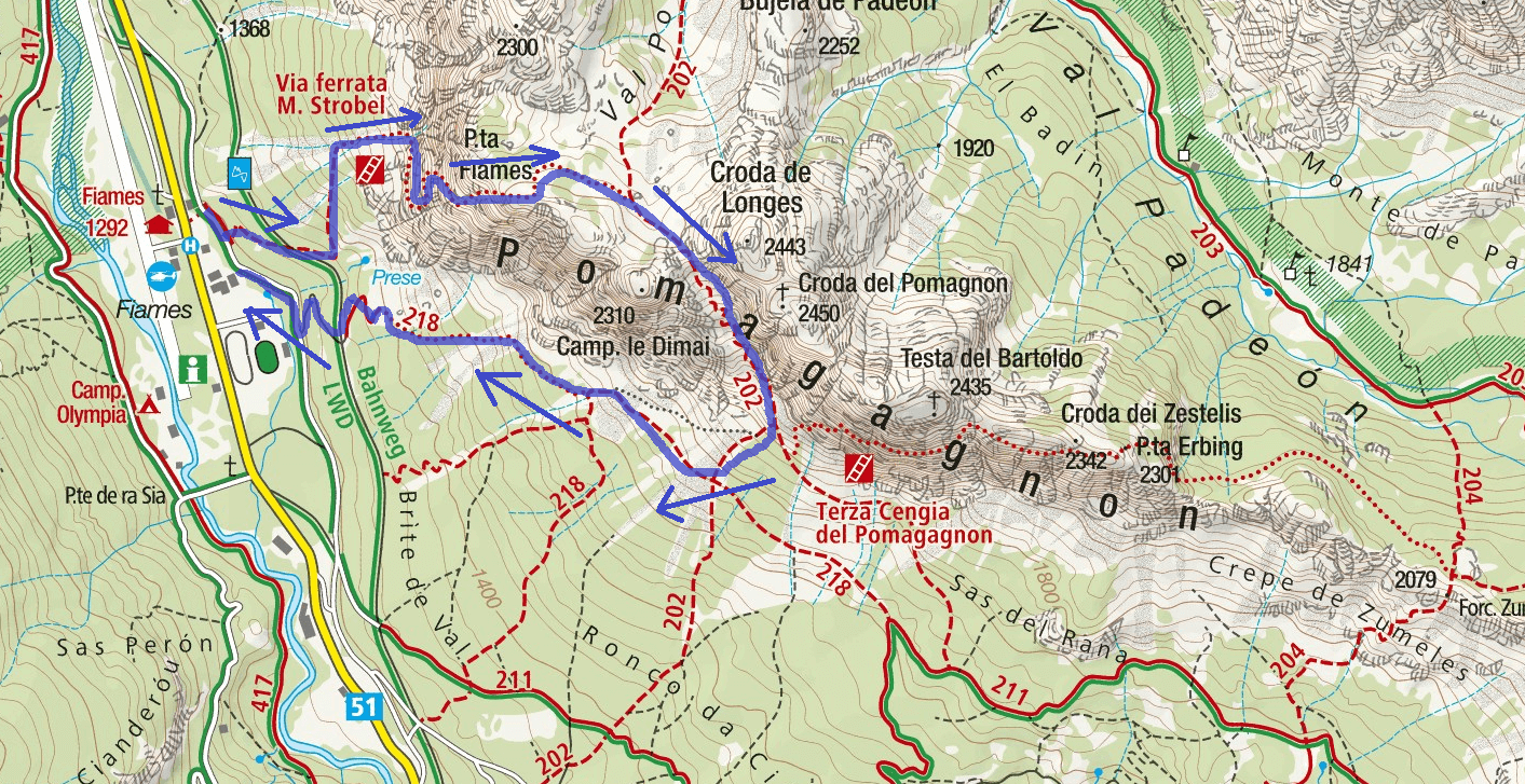 Strobel Ferrata Map Punta Fiames Itinerary