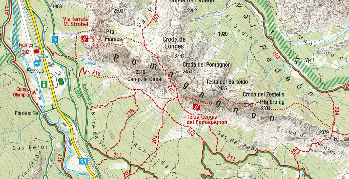 Strobel Punta Fiames Ferrata Map