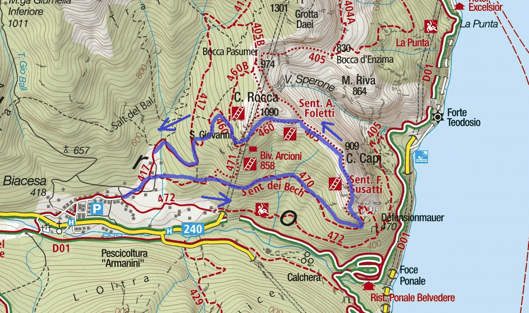 Ferrata Susatti Cima Capi Route Map