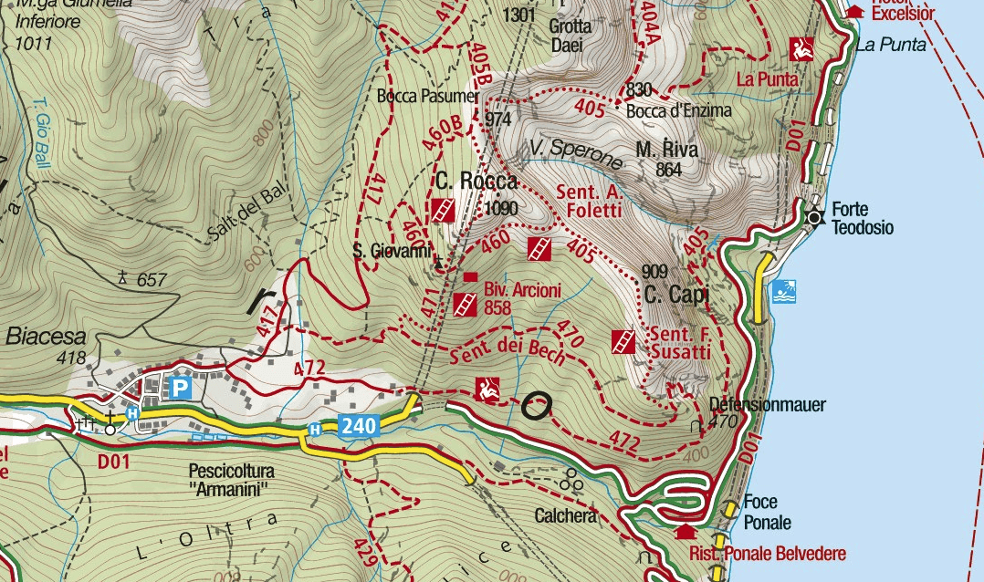 Susata Cima Capi Ferrata Map