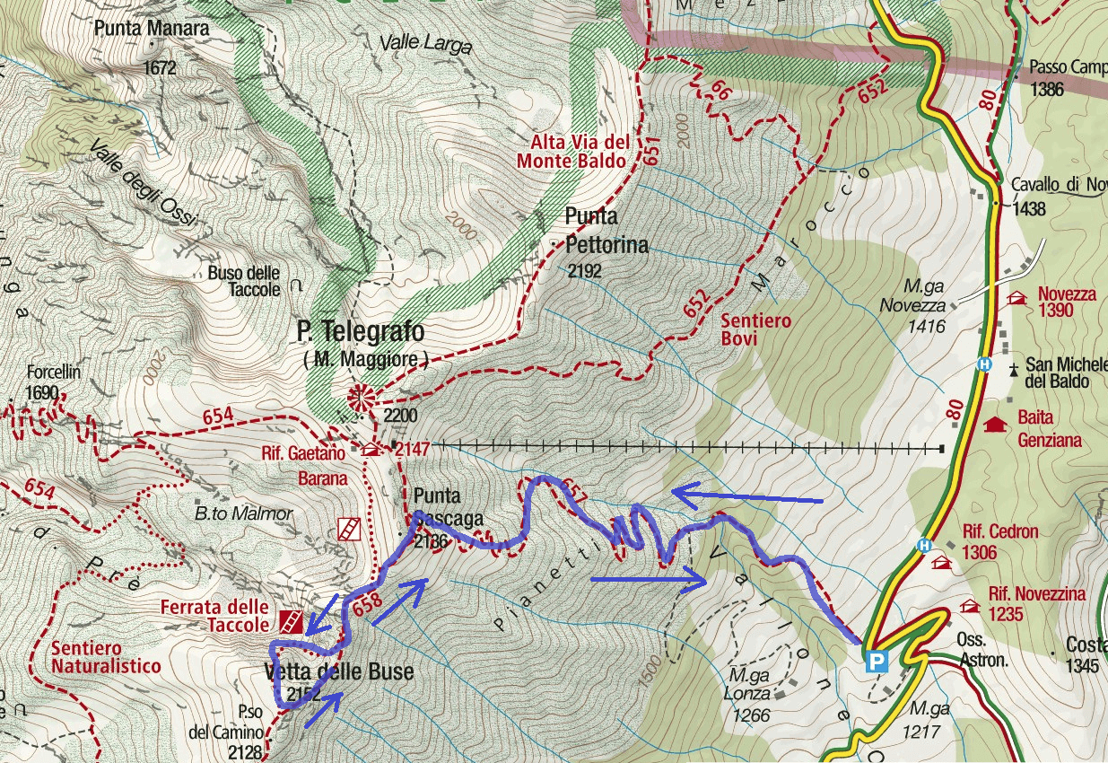 Ferrata map Taccole Baldo Itinerario 1
