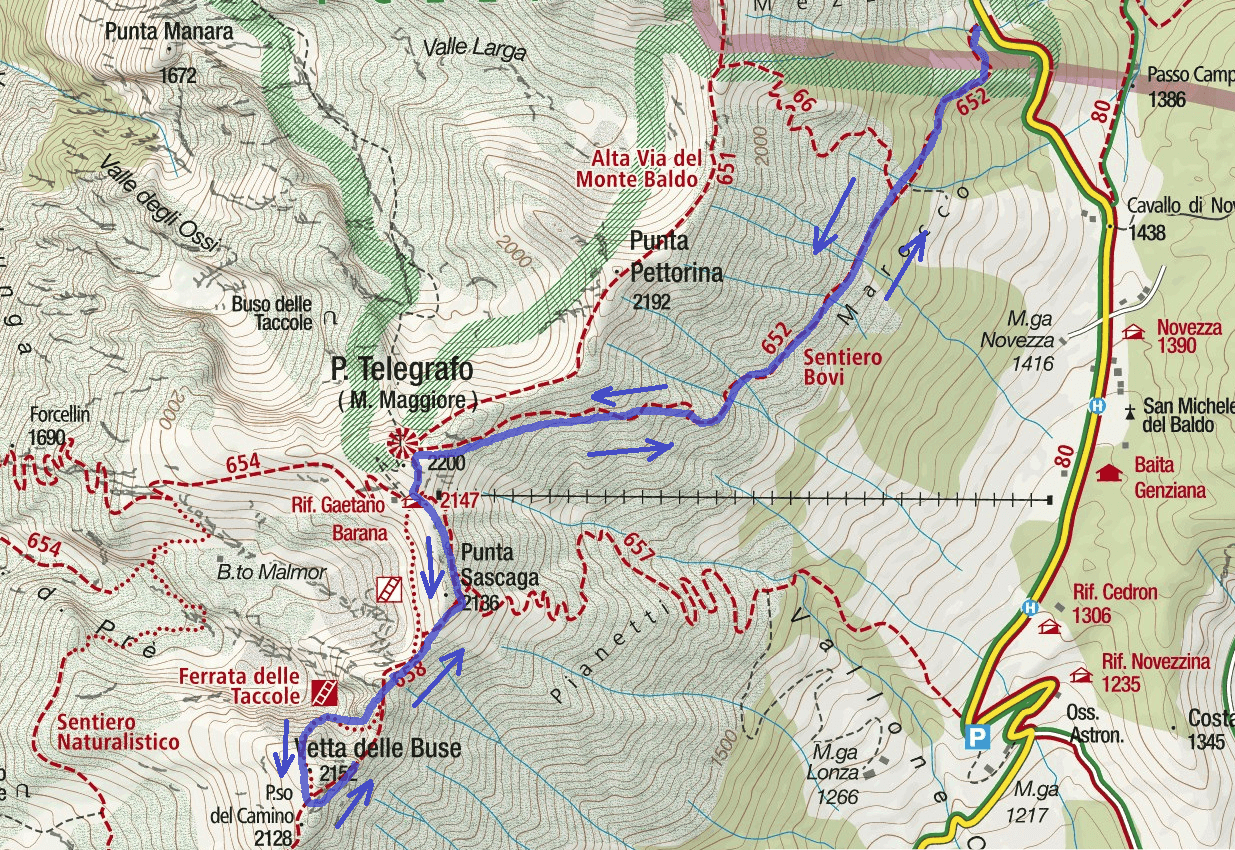Ferrata map Taccole Baldo Itinerario 2