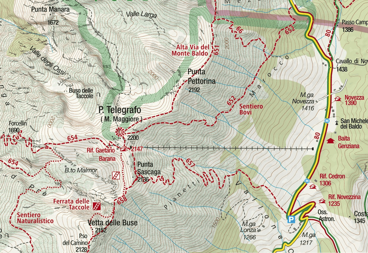 Ferrata Taccole Baldo Map