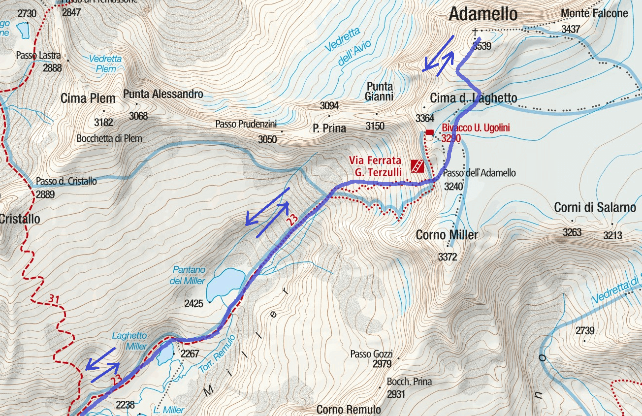 Cartina Ferrata Terzulli Dettaglio 2 Itinerario