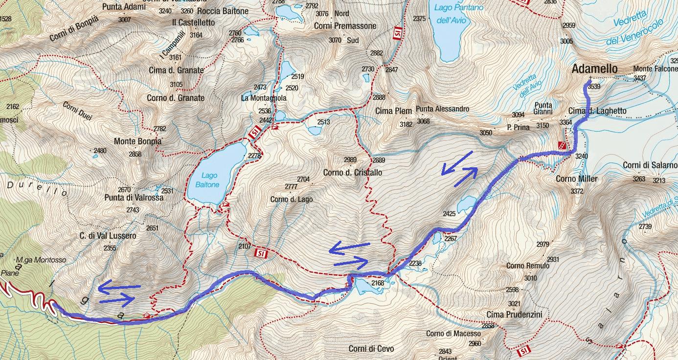 Cartina Ferrata Terzulli Itinerario