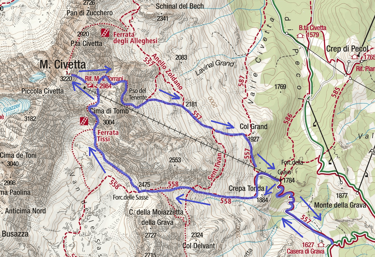 Tissi Ferrata Map Itinerary