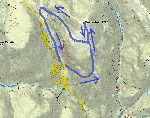 Tramuntin Ferrata Route Map