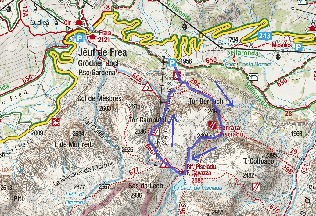 Tridentina Pisciadu Ferrata Map Itinerary