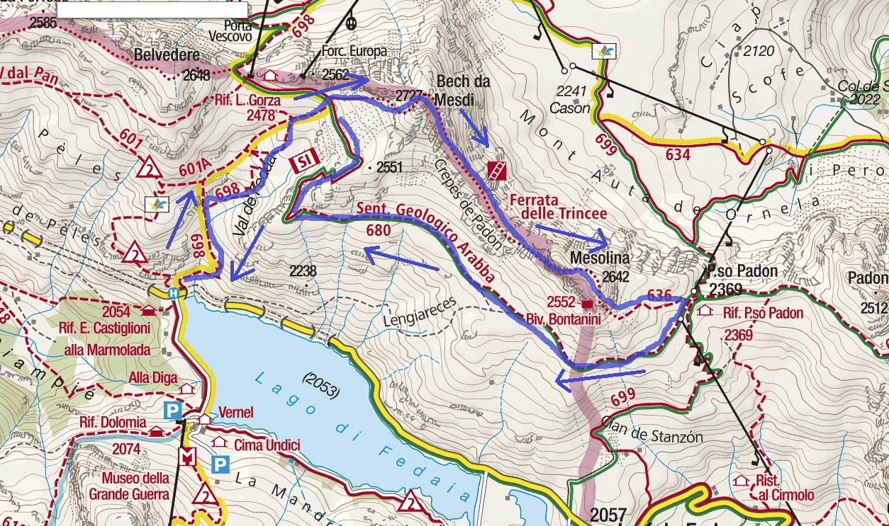 Ferrata Trince Route Map