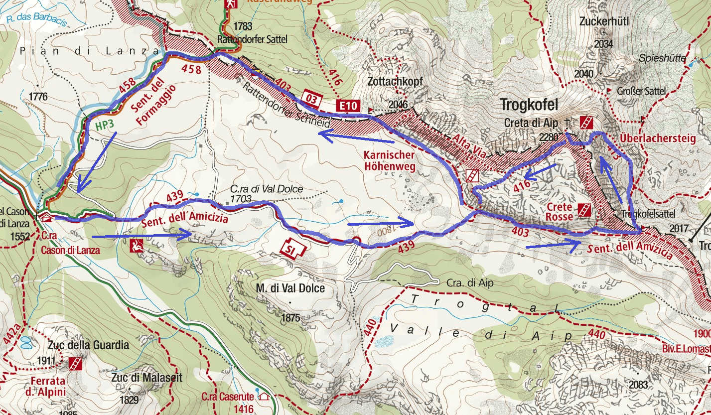 Uiberlachersteig Ferrata Map Itinerary