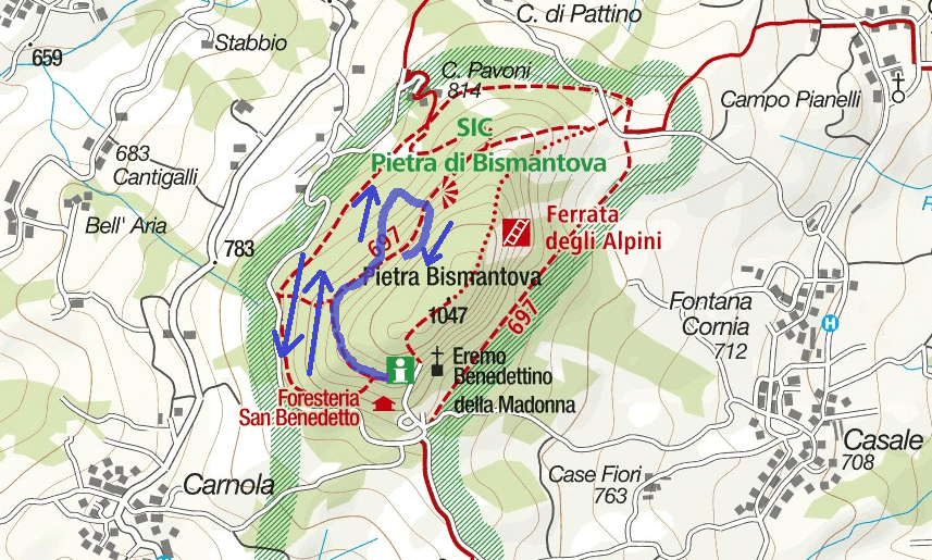 Cartina Ferrata Ultimo Sole Bismantova Itinerario