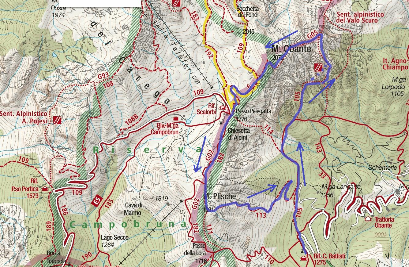 Cartina Ferrata Vajo Scuro Itinerario Dettaglio