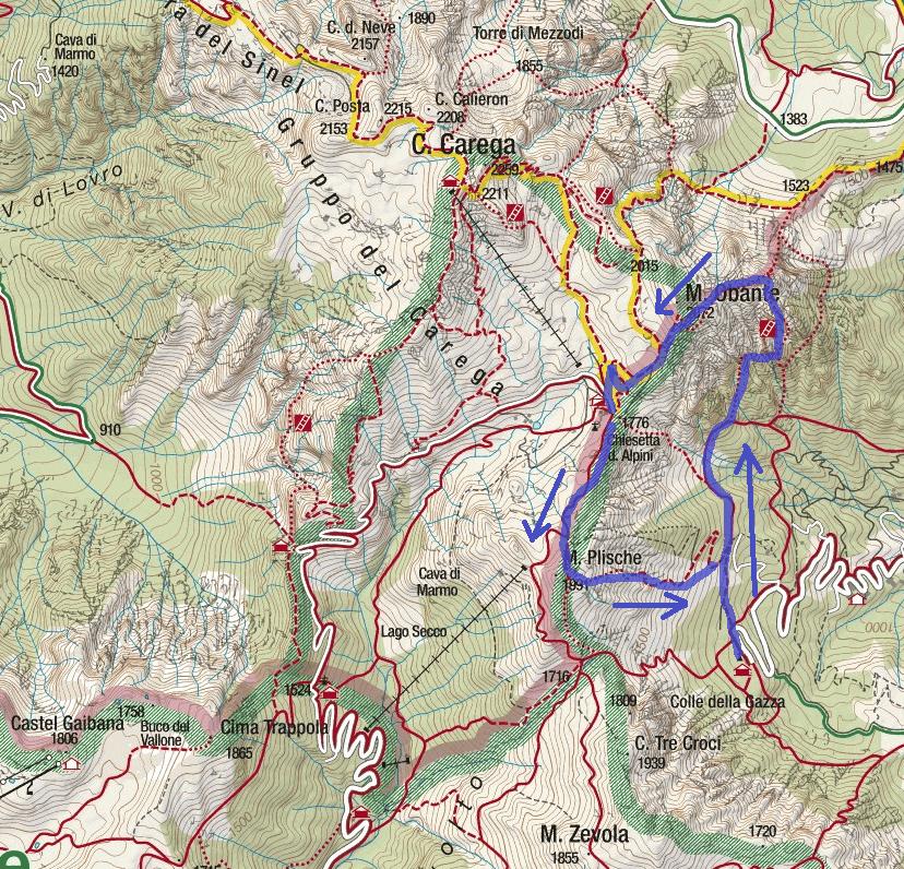 Cartina Ferrata Vajo Scuro Itinerario