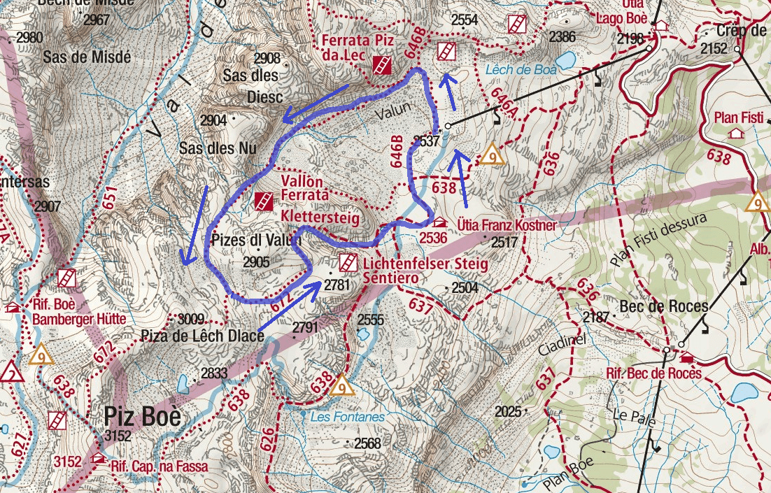 Vallon Ferrata Itinerary Map