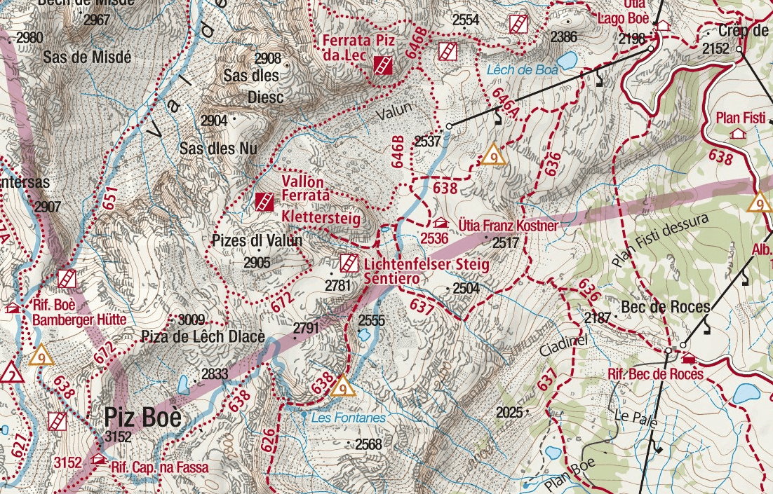 Vallon Ferrata Map