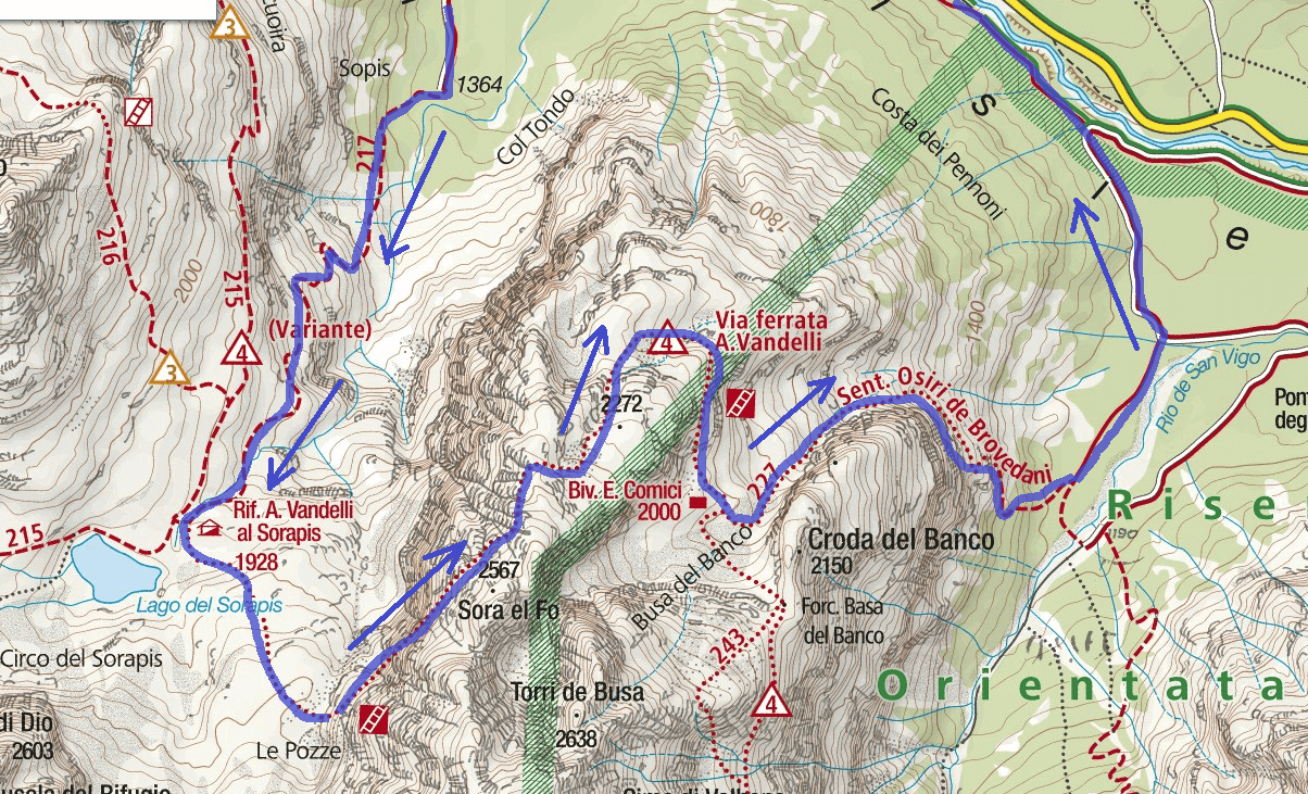 Ferrata Map Vandelli Sorapiss Itinerary Detail