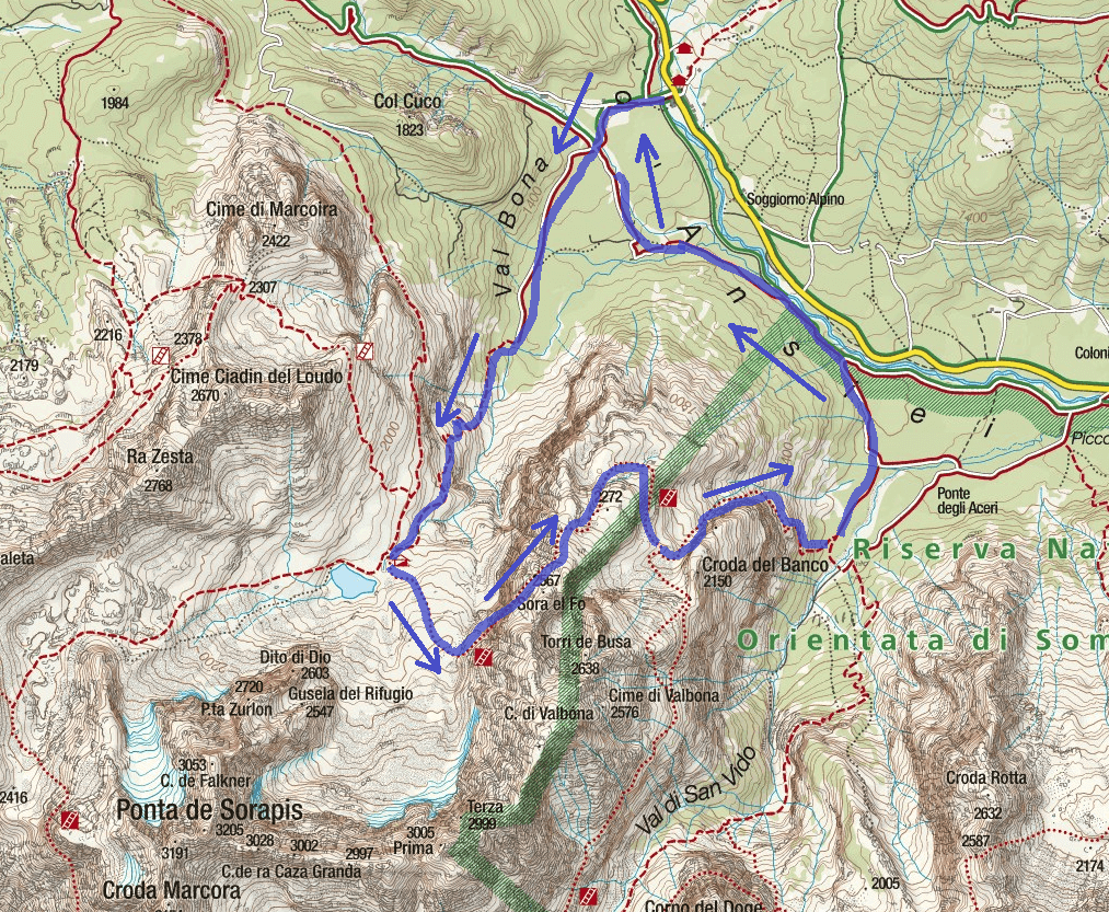Ferrata Vandelli Sorapiss Route Map