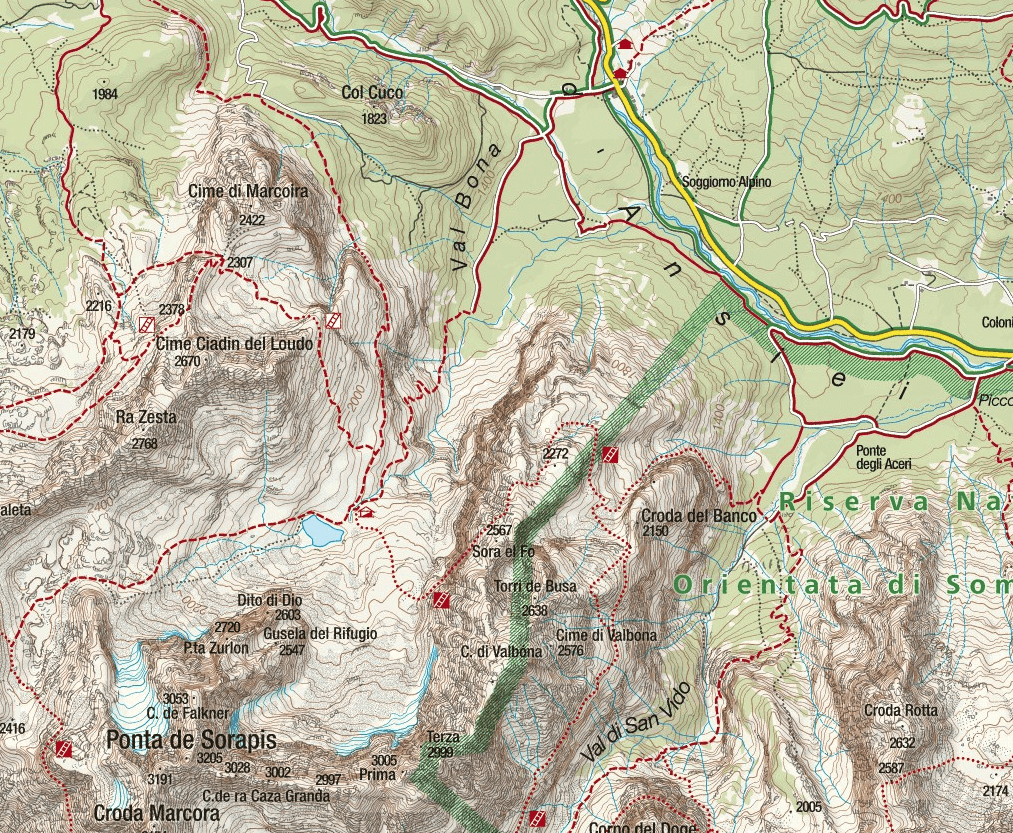 Vandelli Sorapiss Ferrata Map