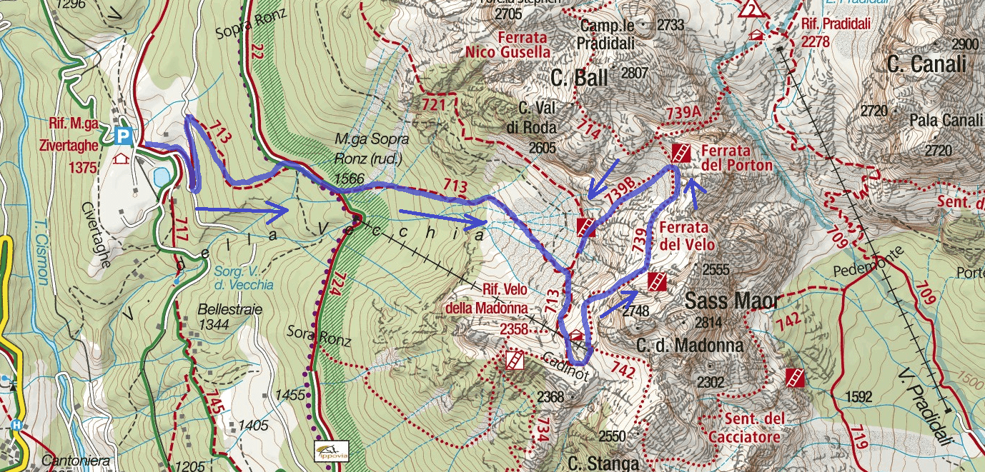 Ferrata Velo Route Map
