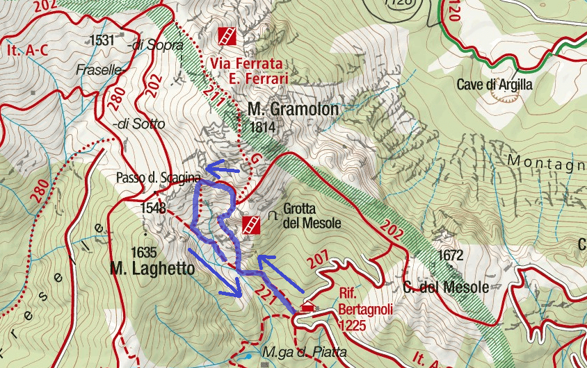 Ferrata Viali Gramolon Route Map