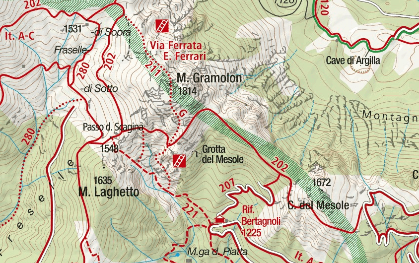 Viali Gramolon Ferrata Map