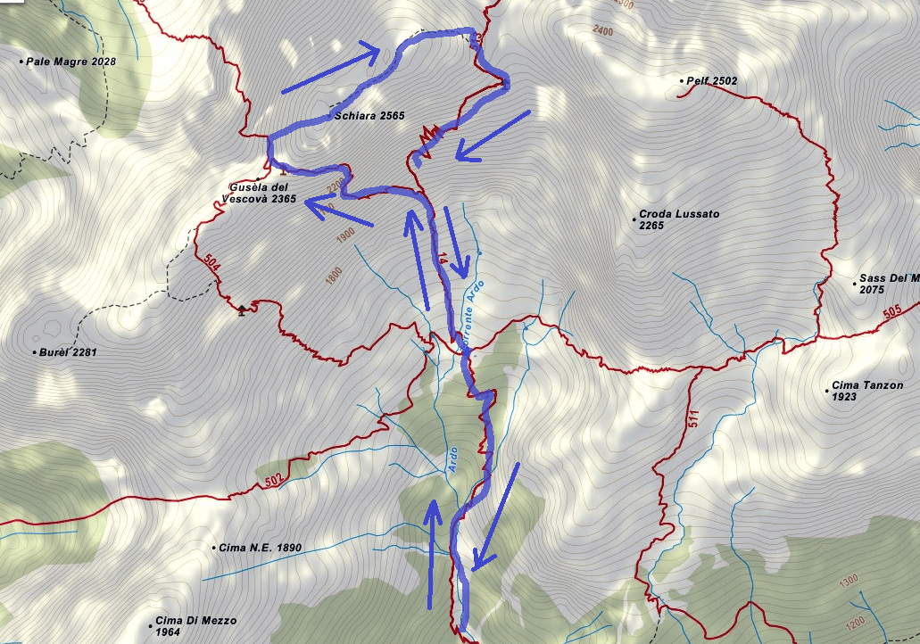Zacchi Ferrata Map Itinerary Detail