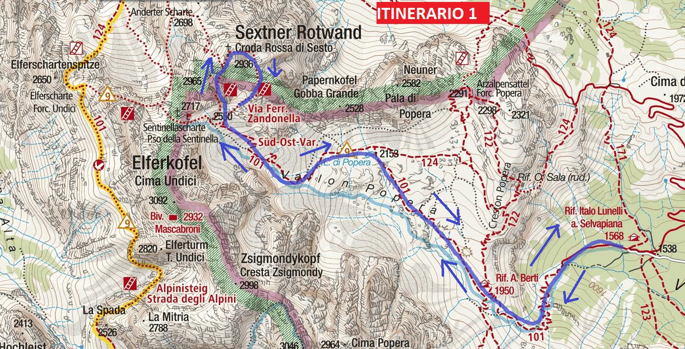 Cartina Ferrata Zandonella Itinerario 1