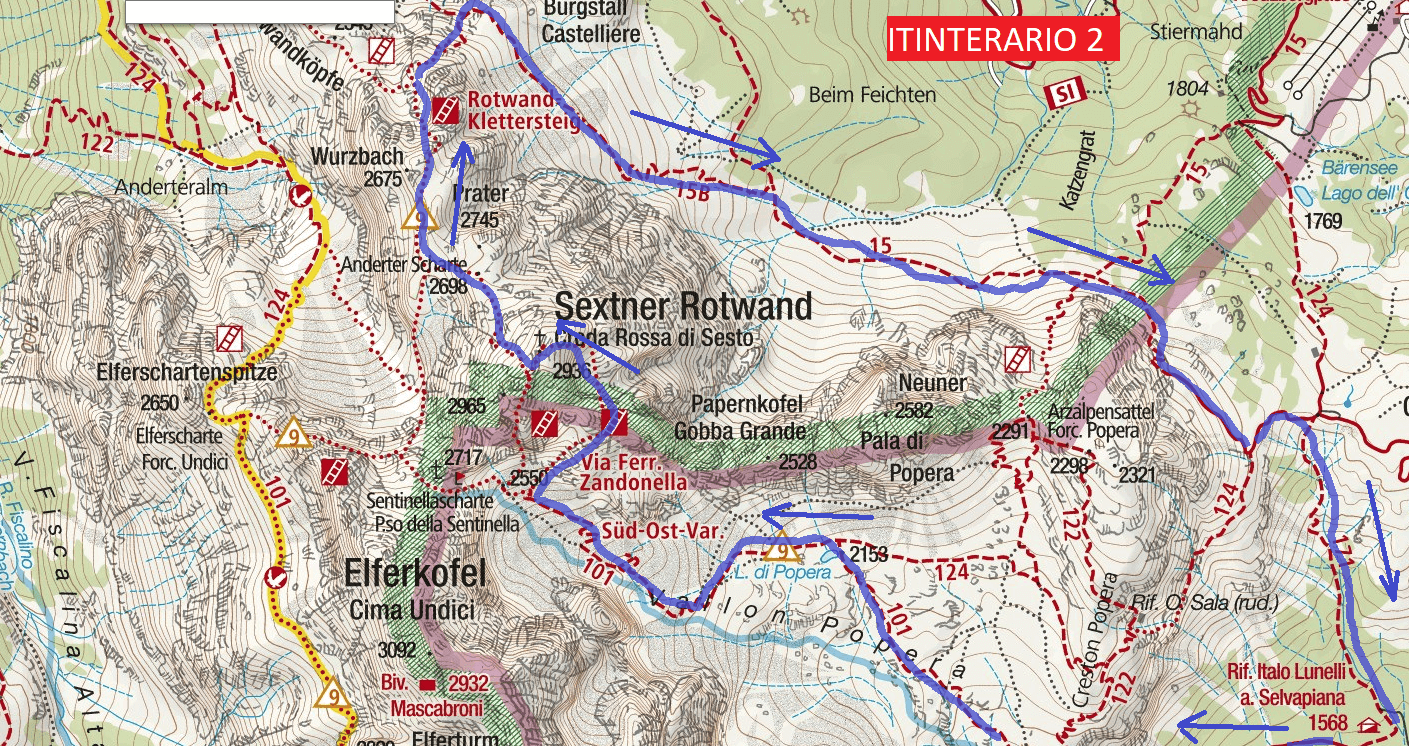 Ferrata Zandonella Map Itinerary 2