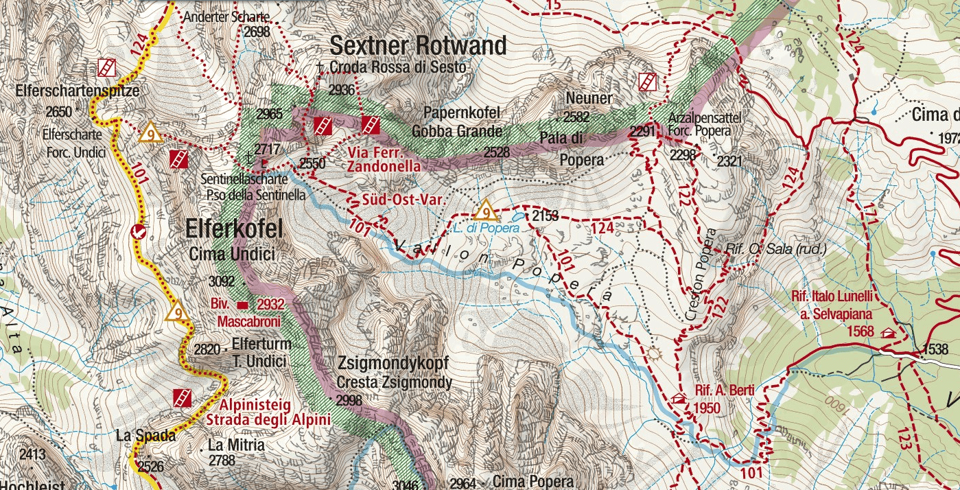 Zandonella Ferrata Map
